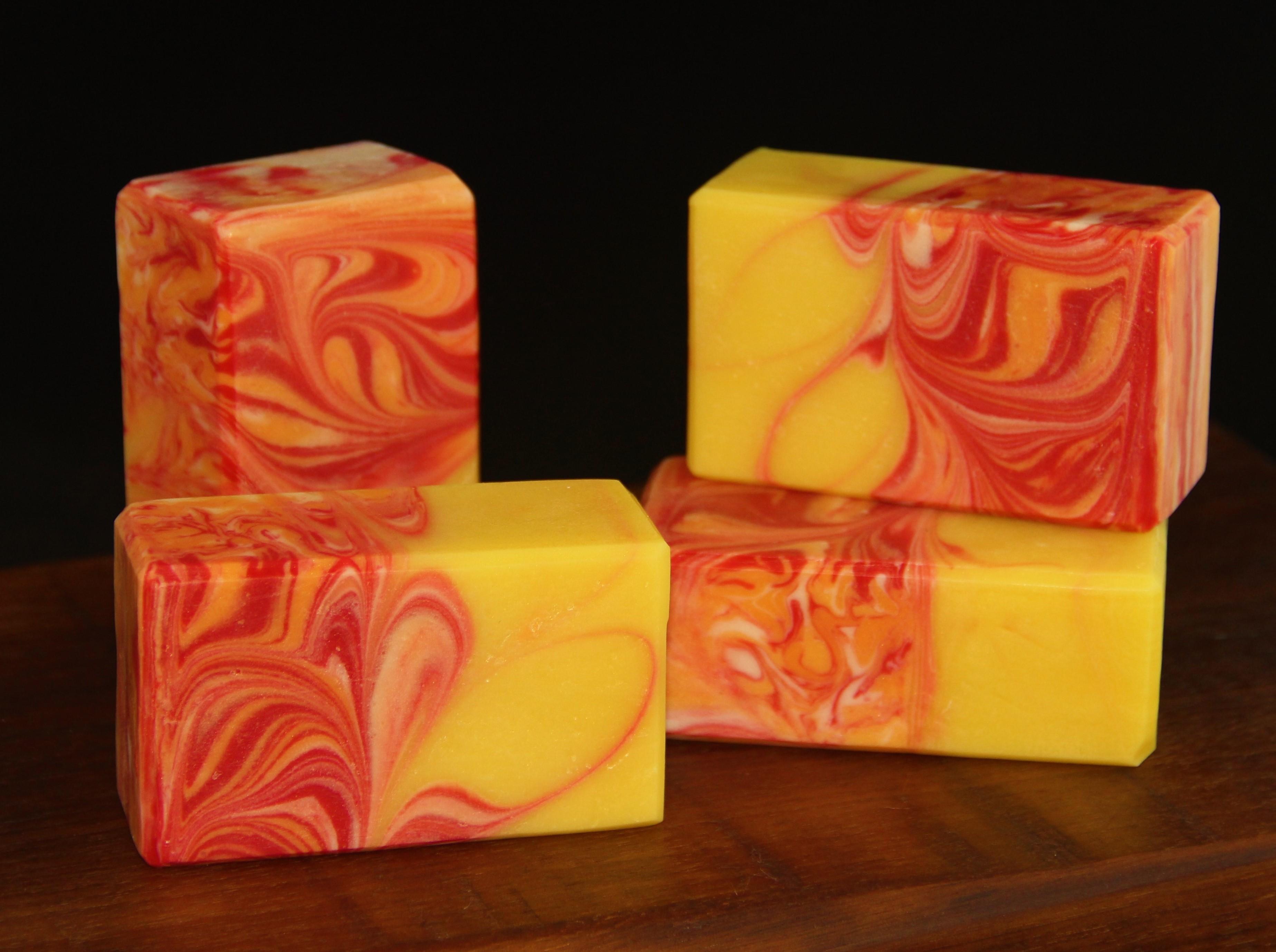 sunset striped mantra swirl soap