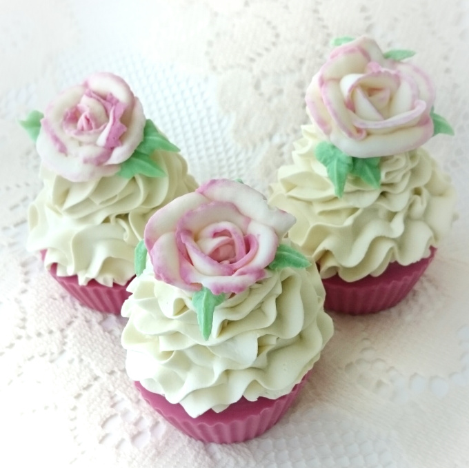 rose scented cupcake soap