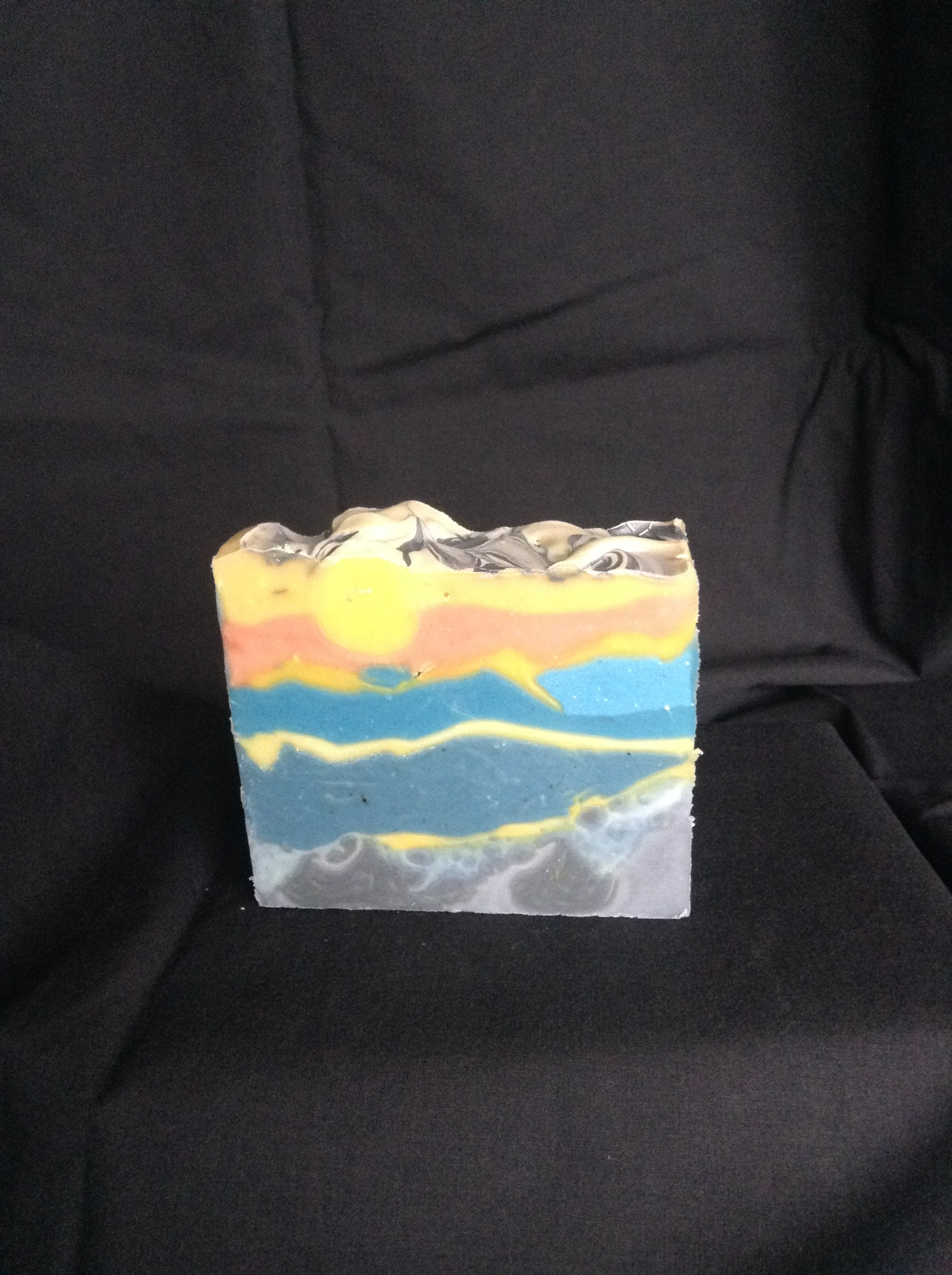 mountain sunset sculpted layers soap