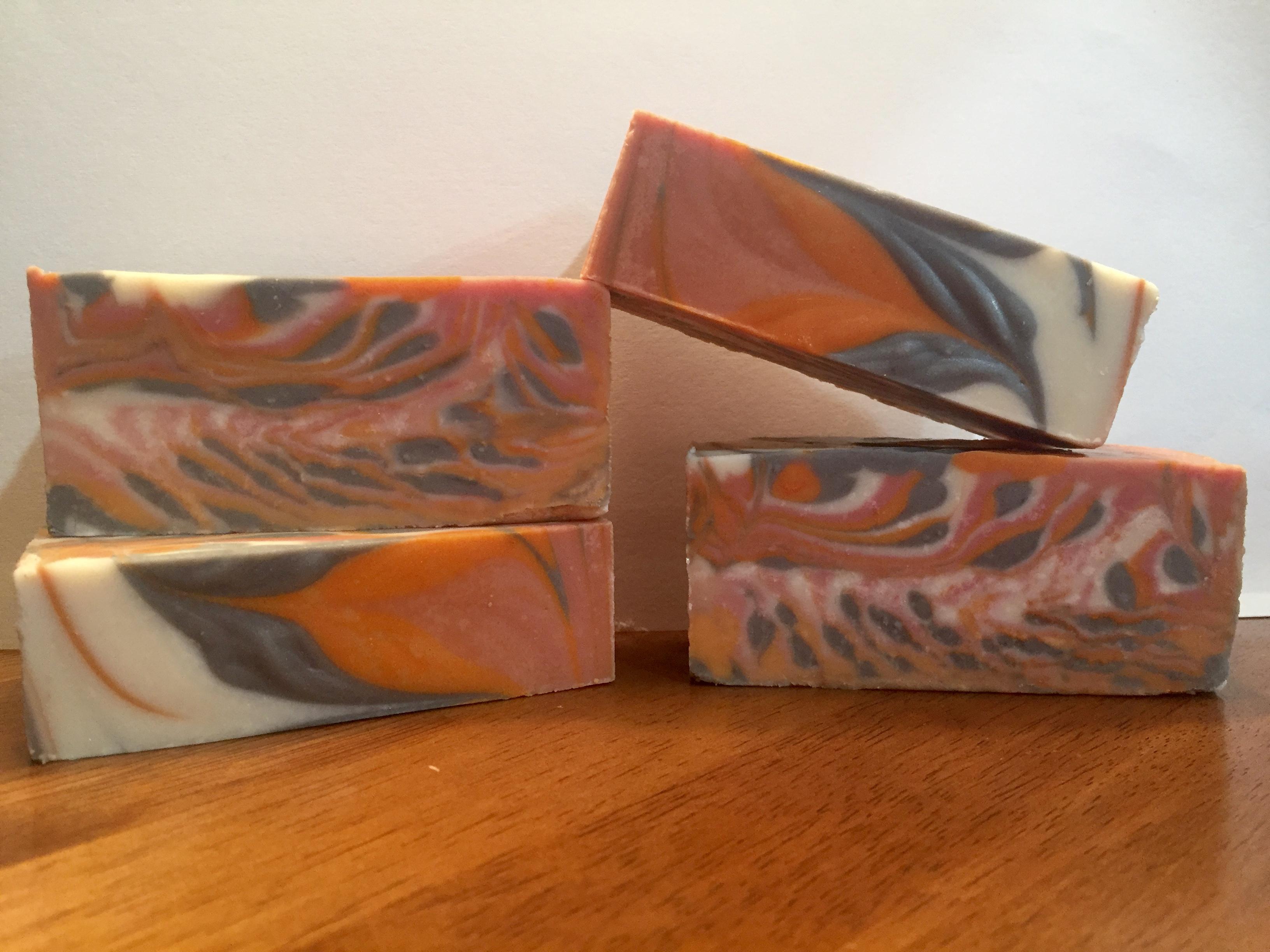 tilted tropical tiger strip soap