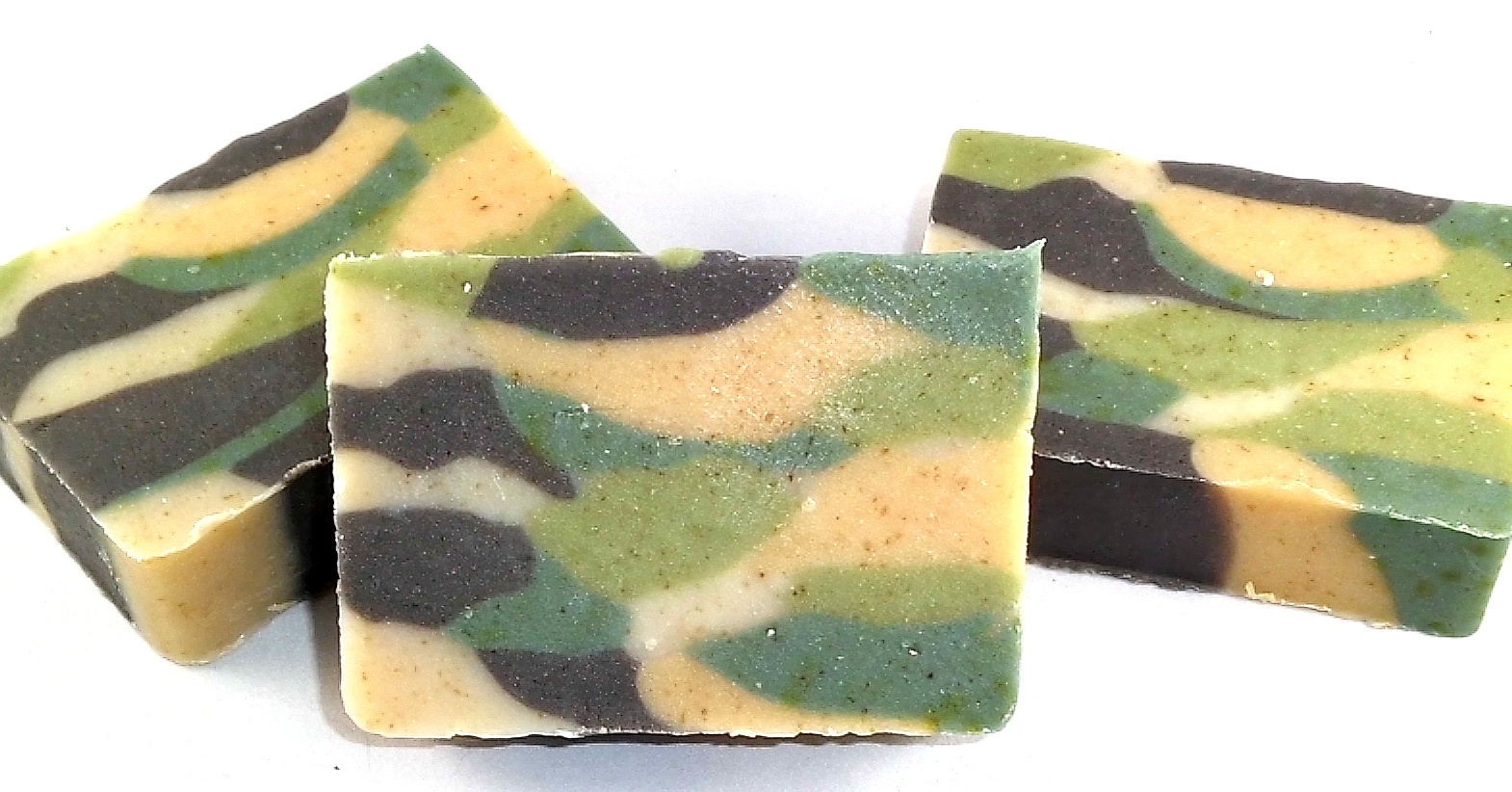 camo oatmeal soap bay rum scented