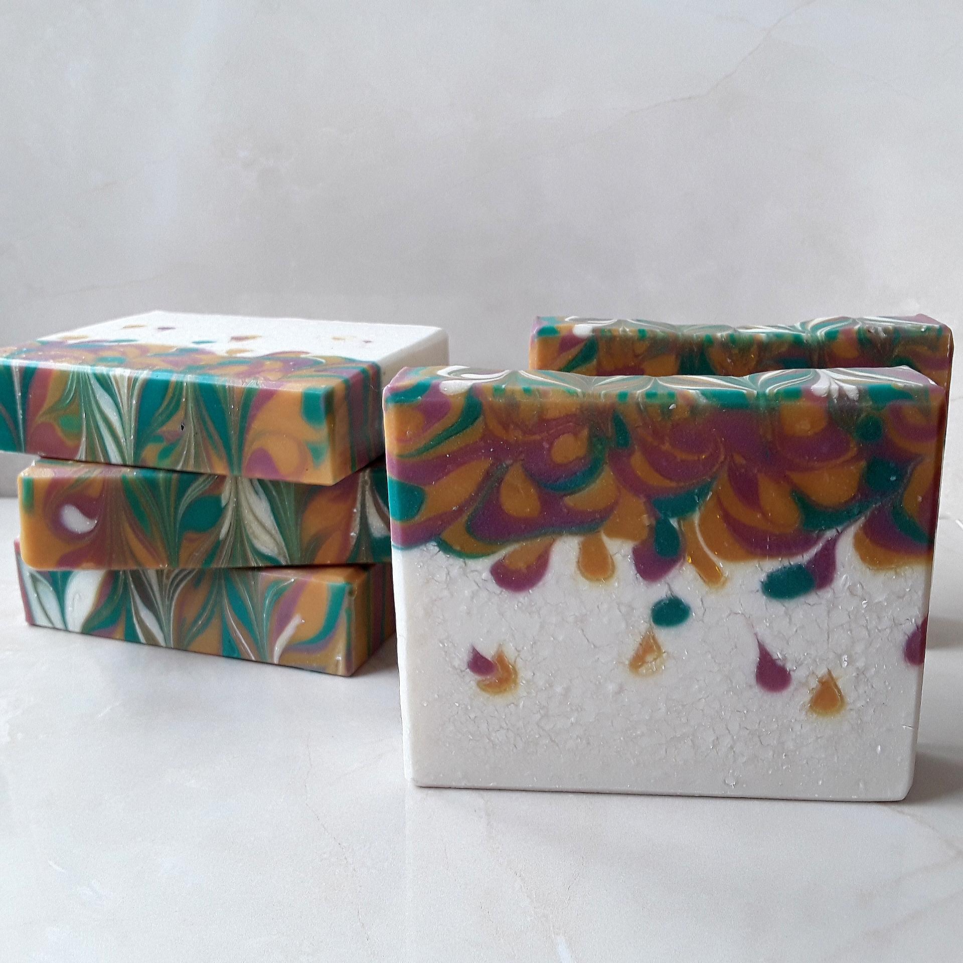 fall insipired mini drop swirls soap