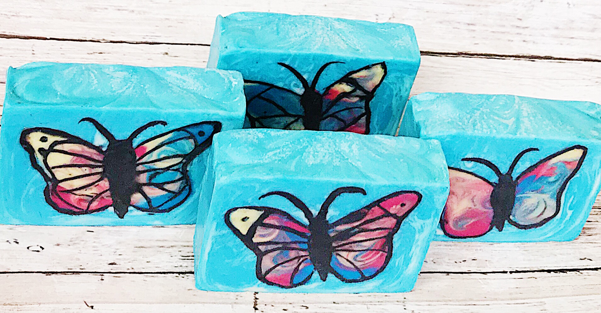 inlaid butterfly soaps