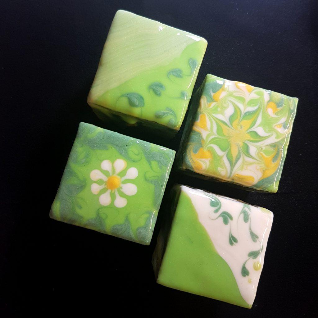 green floral glaze