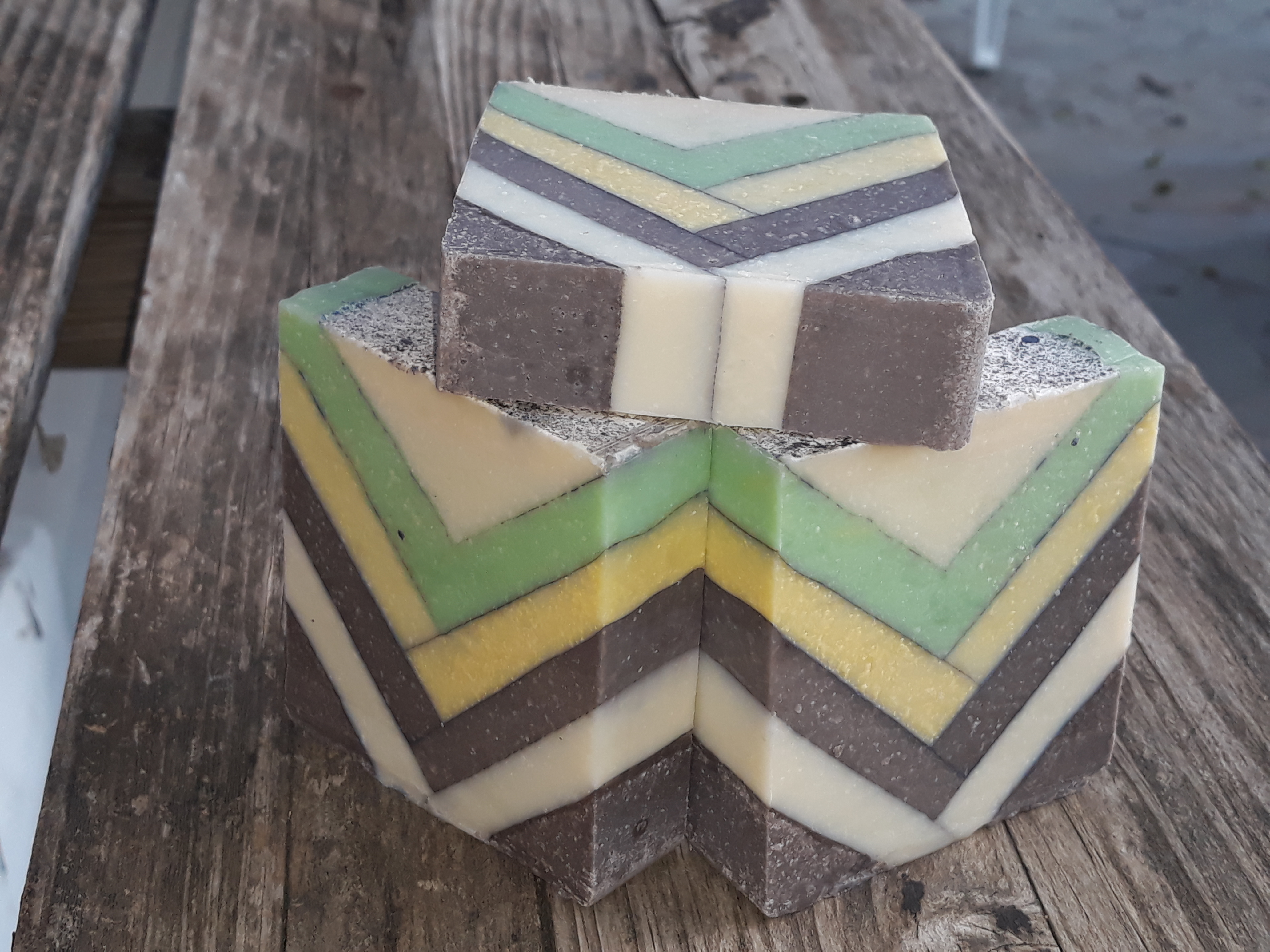chocolate and mint lines soap