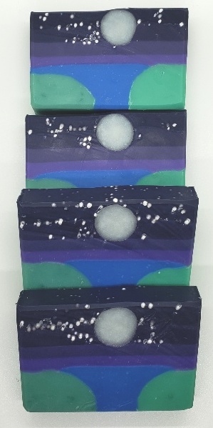 moon stars over the lake