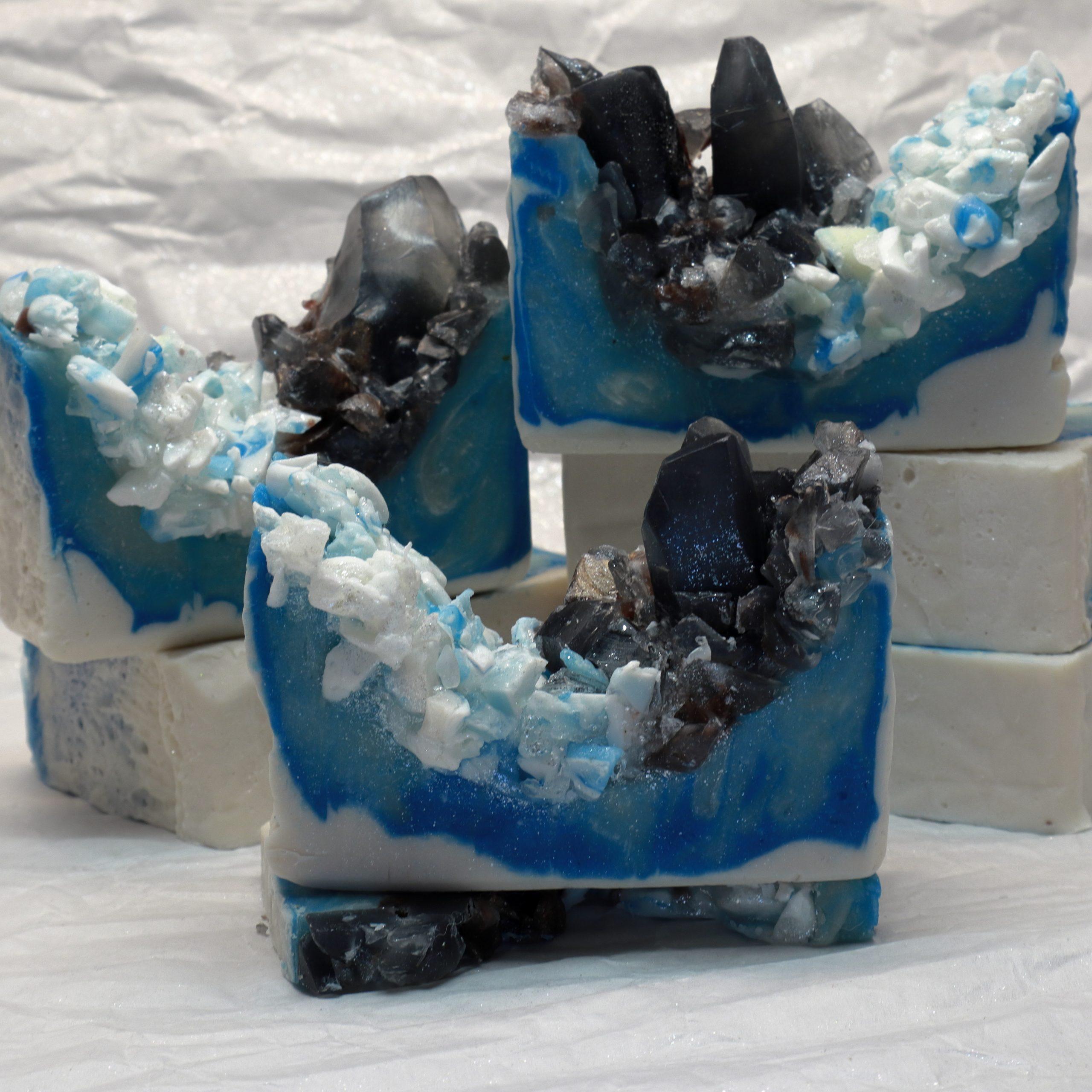 smokey quartz in blue agate