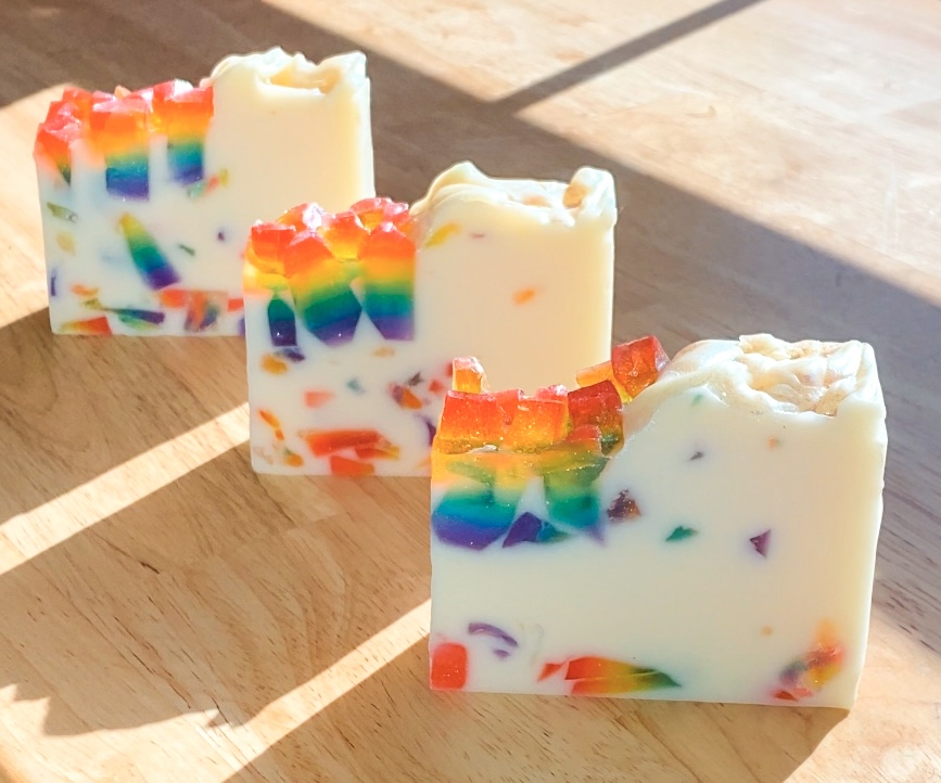 over the rainbow geode soap