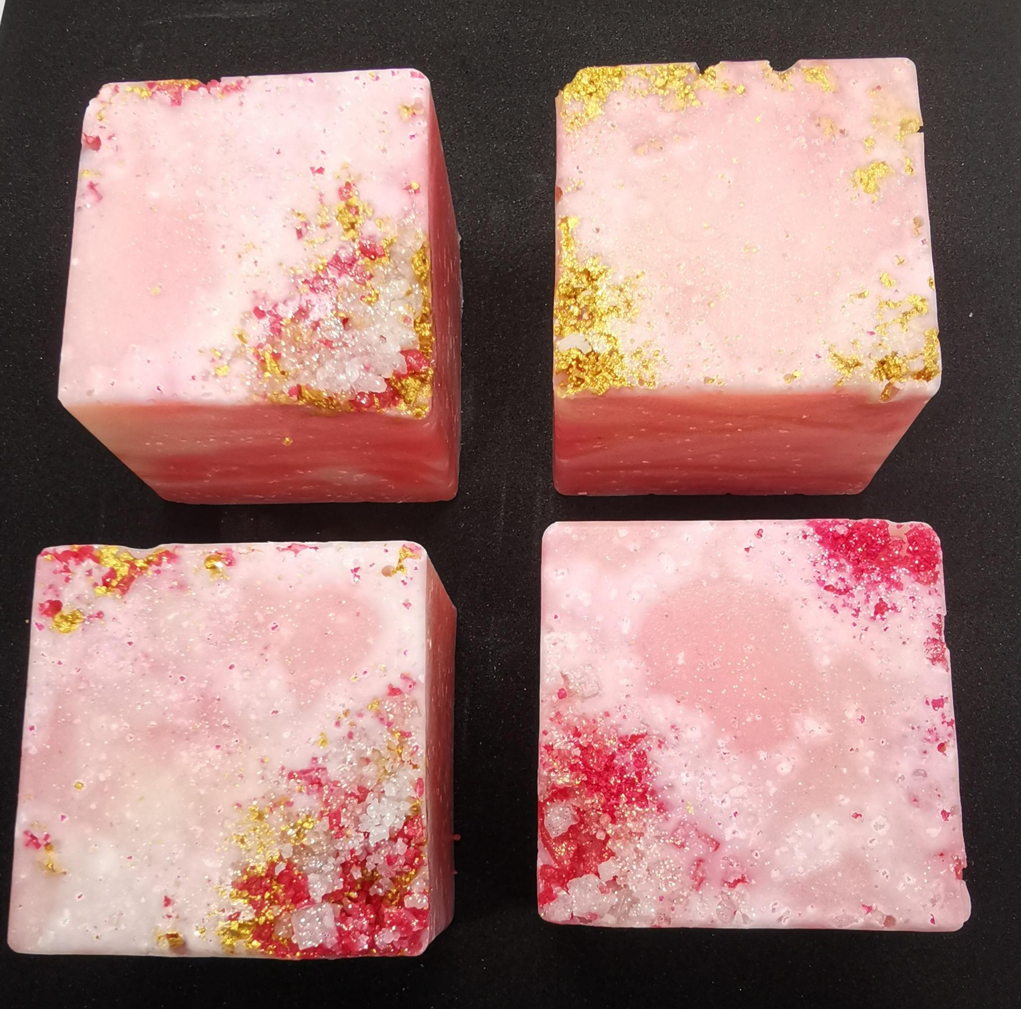 rose quartz and salt crystals