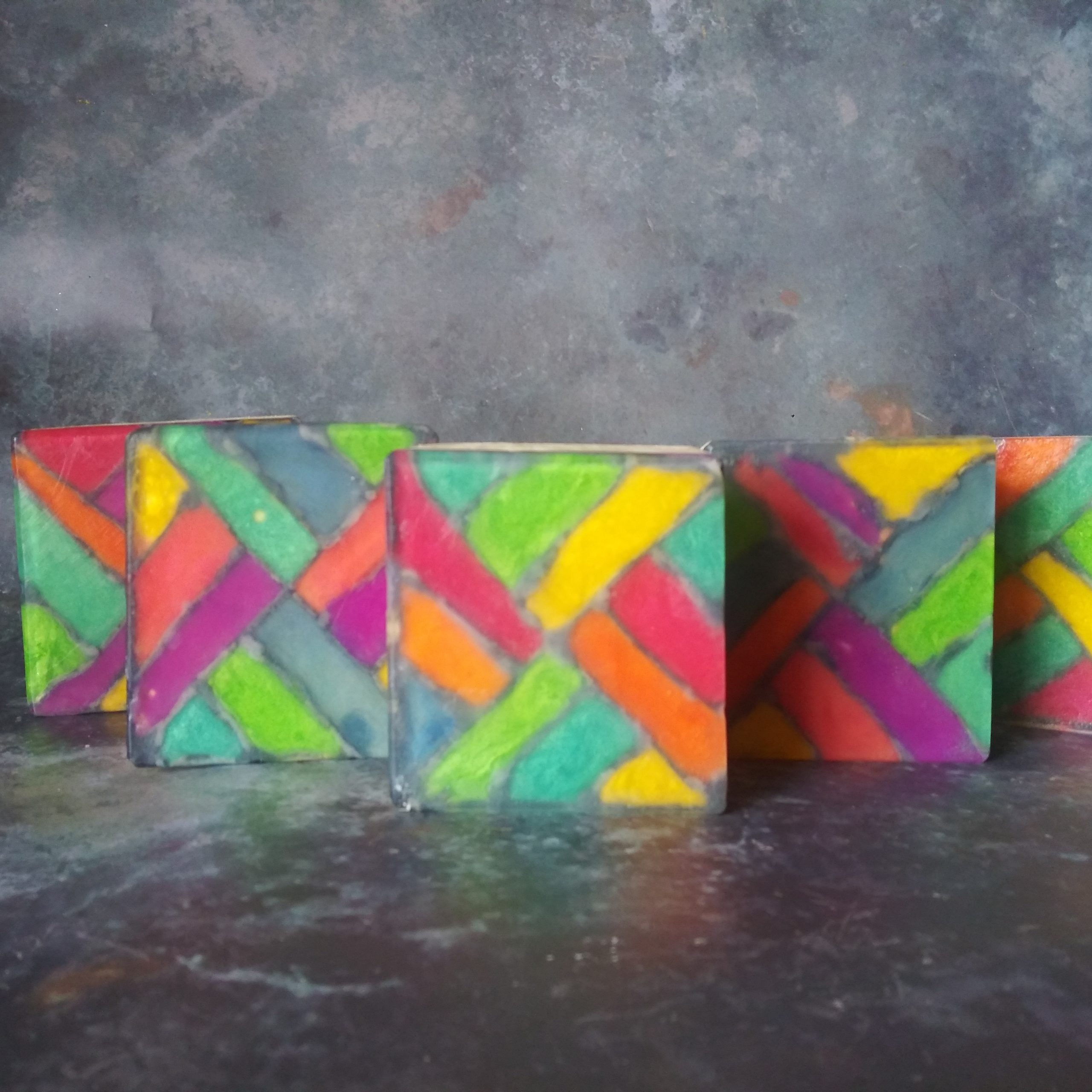 tessellating triangles stained glass soap
