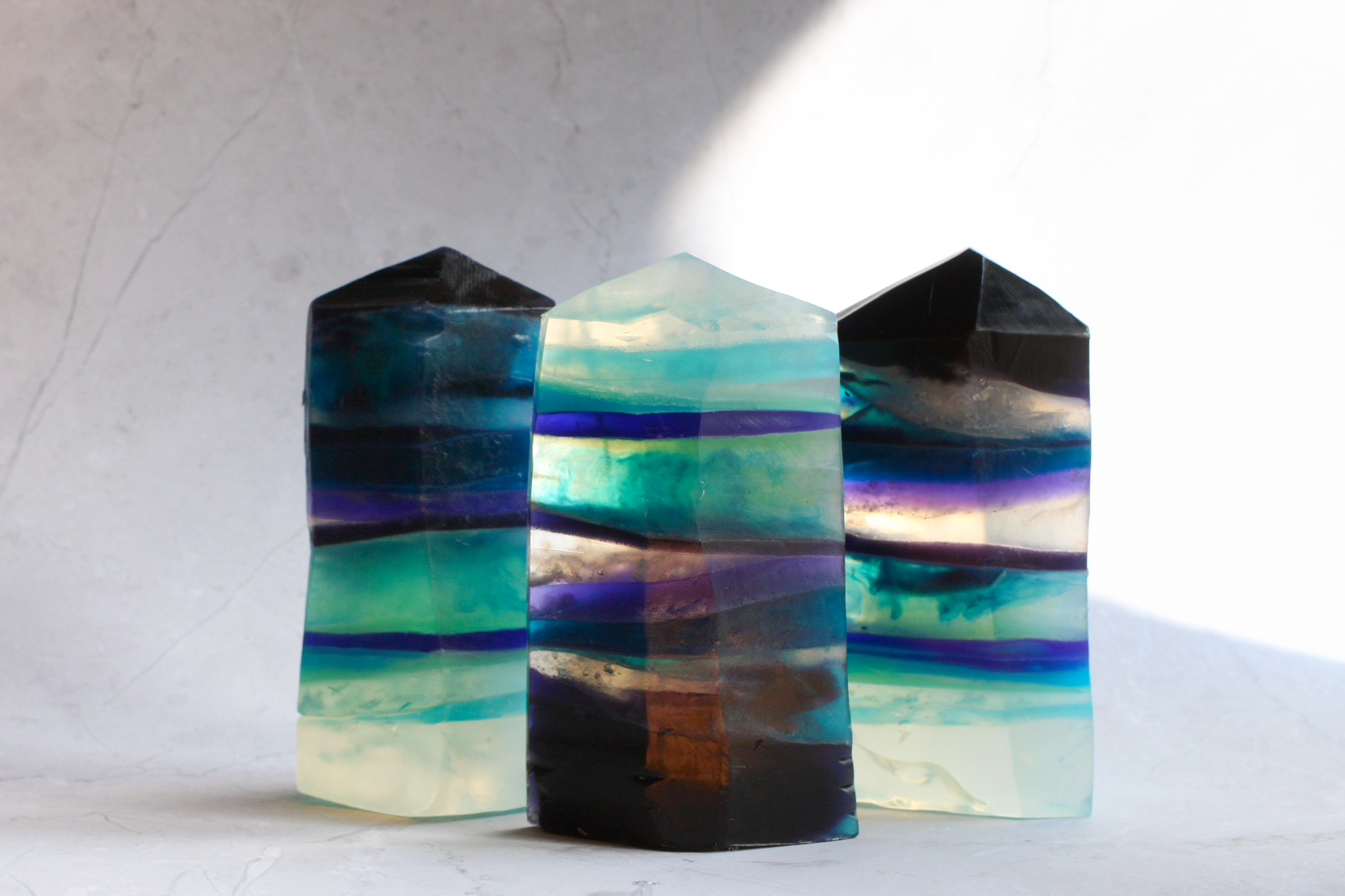 rainbow fluorite gemstone towers